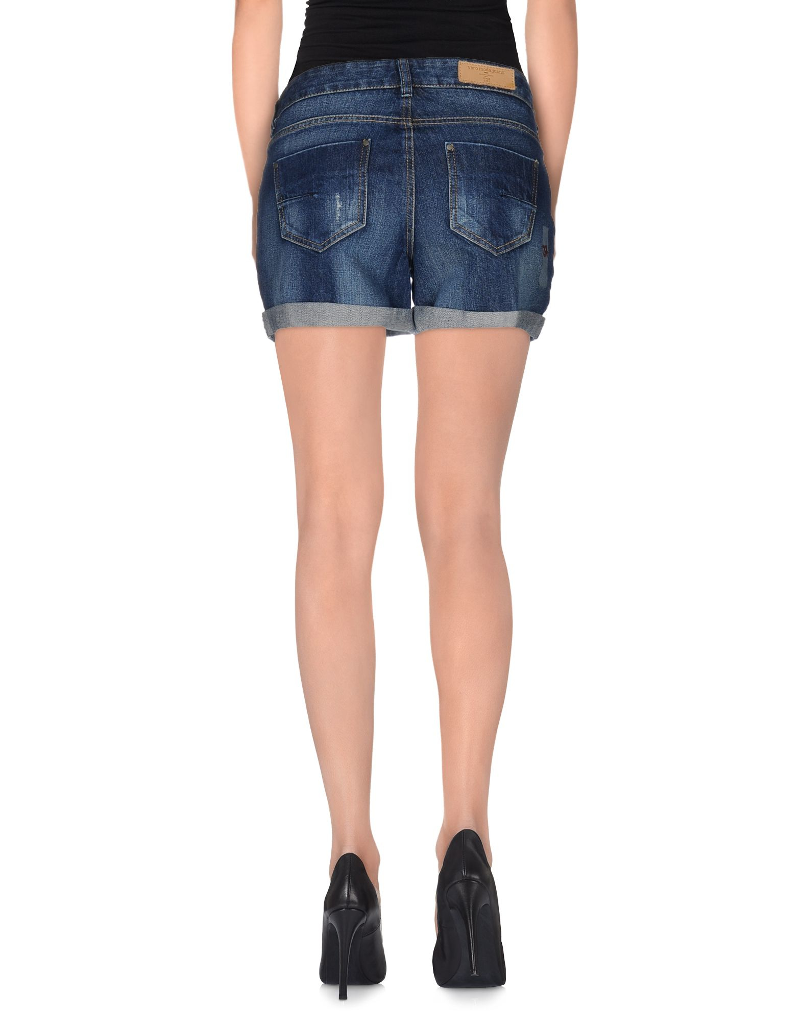 vero moda denim shorts in blue lyst. Black Bedroom Furniture Sets. Home Design Ideas