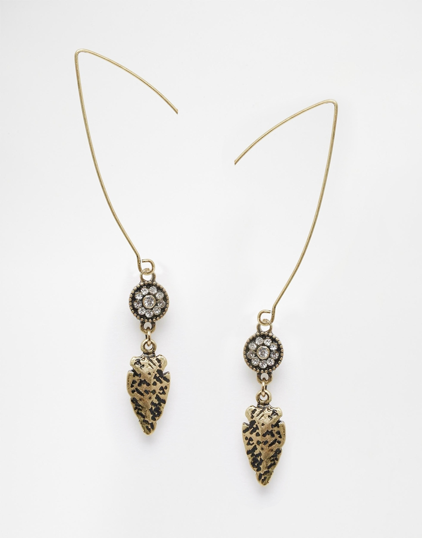 Asos Leaf Stone Through Earrings in Metallic