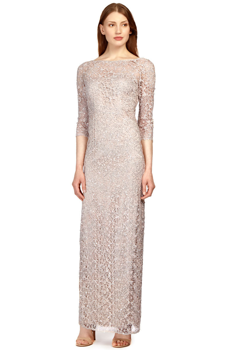 8cf71cecbaa Details about KAY UNGER Sequin Lace Colum Gown Silver Size 8  57 NEW