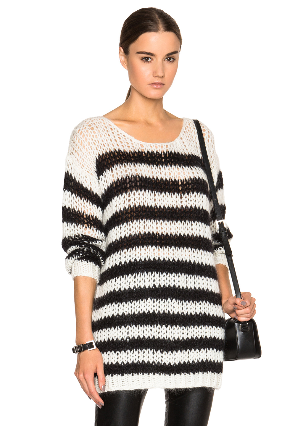 Saint laurent Oversize Striped Sweater in White | Lyst
