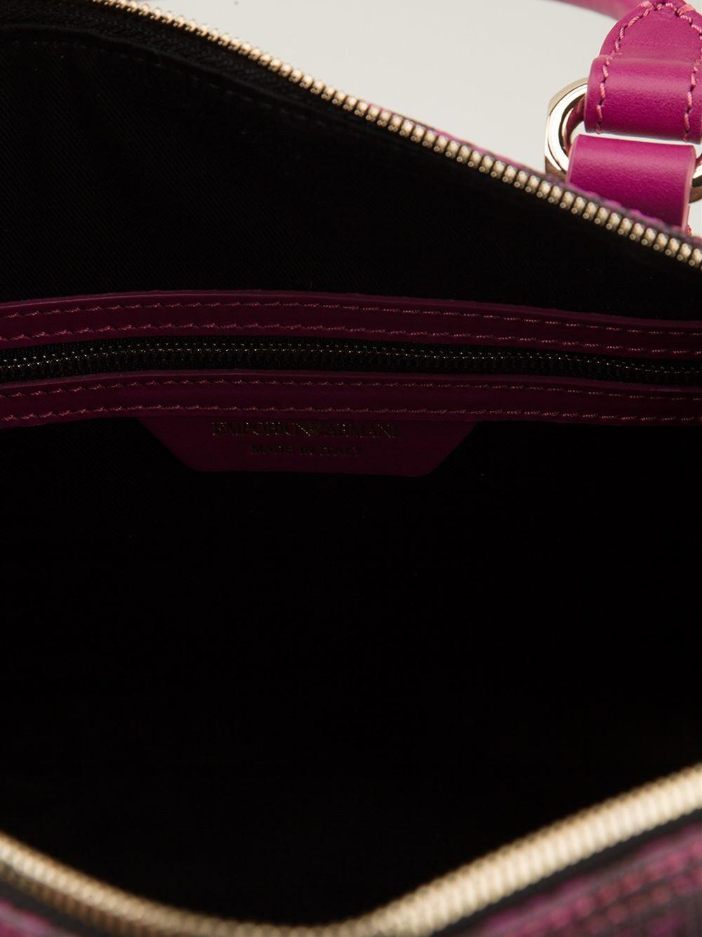Emporio armani logo pattern doctor bag in purple lyst - Emporio giorgio armani logo ...