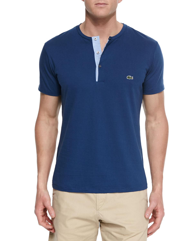 Lacoste short sleeve henley t shirt in blue for men lyst for Short sleeve lacoste shirt