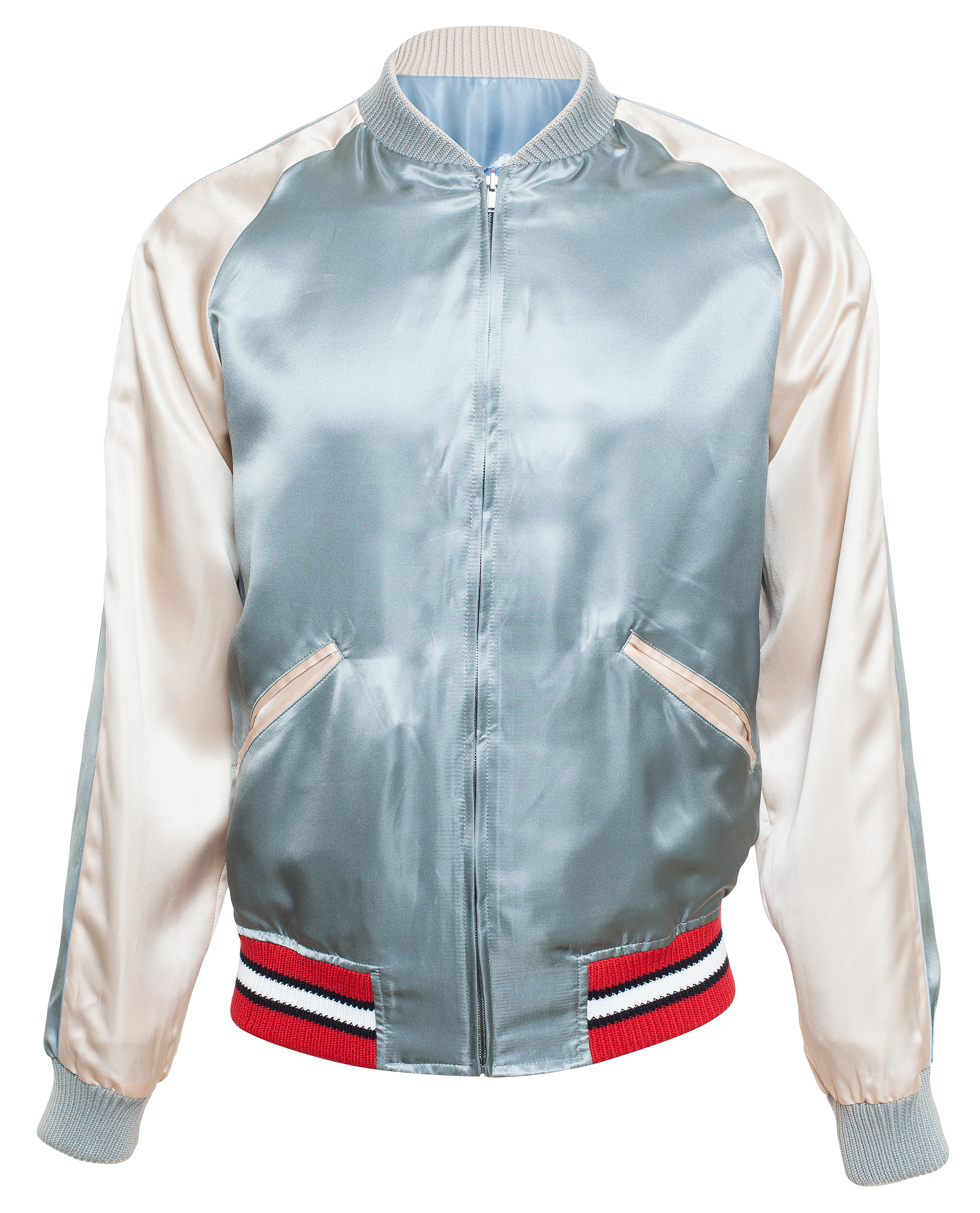 275f23d54 Gucci Reversible Satin Bomber Jacket in Blue for Men - Lyst