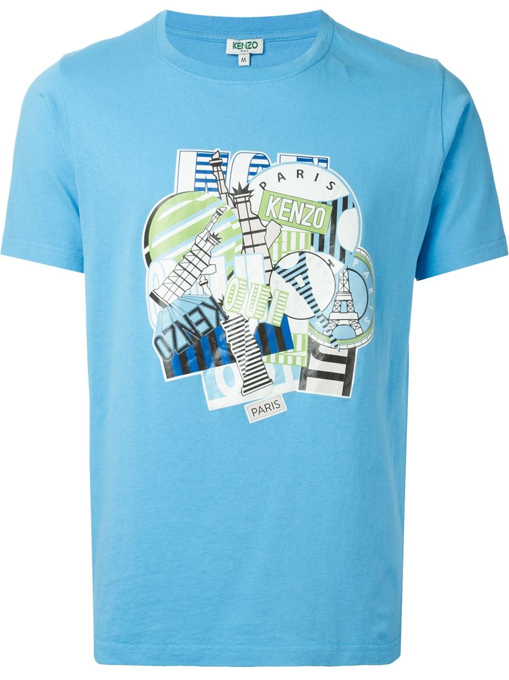 kenzo multi logo print t shirt in blue for men lyst. Black Bedroom Furniture Sets. Home Design Ideas