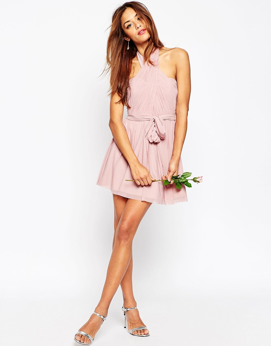 Asos Petite Wedding Multiway Mesh Mini Dress in Blue | Lyst