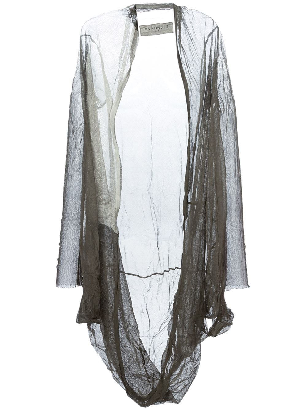 Rundholz Long Sheer Open Front Cardigan in Gray | Lyst