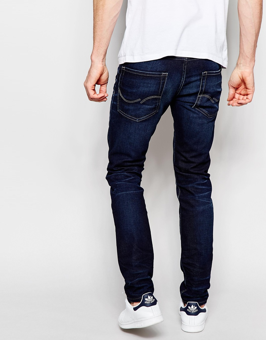 jack jones distressed jeans in slim fit in blue for men lyst. Black Bedroom Furniture Sets. Home Design Ideas
