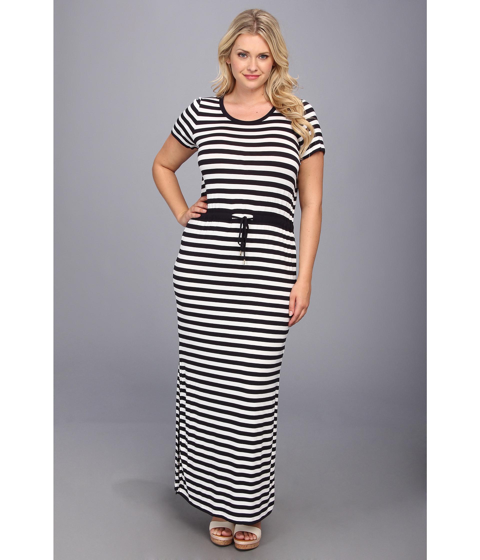 MICHAEL Michael Kors Plus Size Ss Striped Maxi Dress in Blue - Lyst