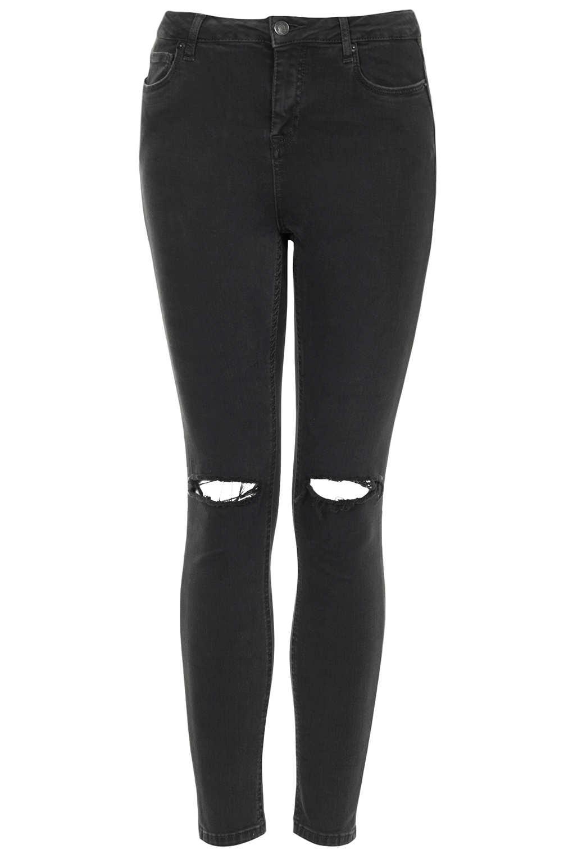 Topshop Moto Black Wash Ripped Jamie Jeans in Black | Lyst