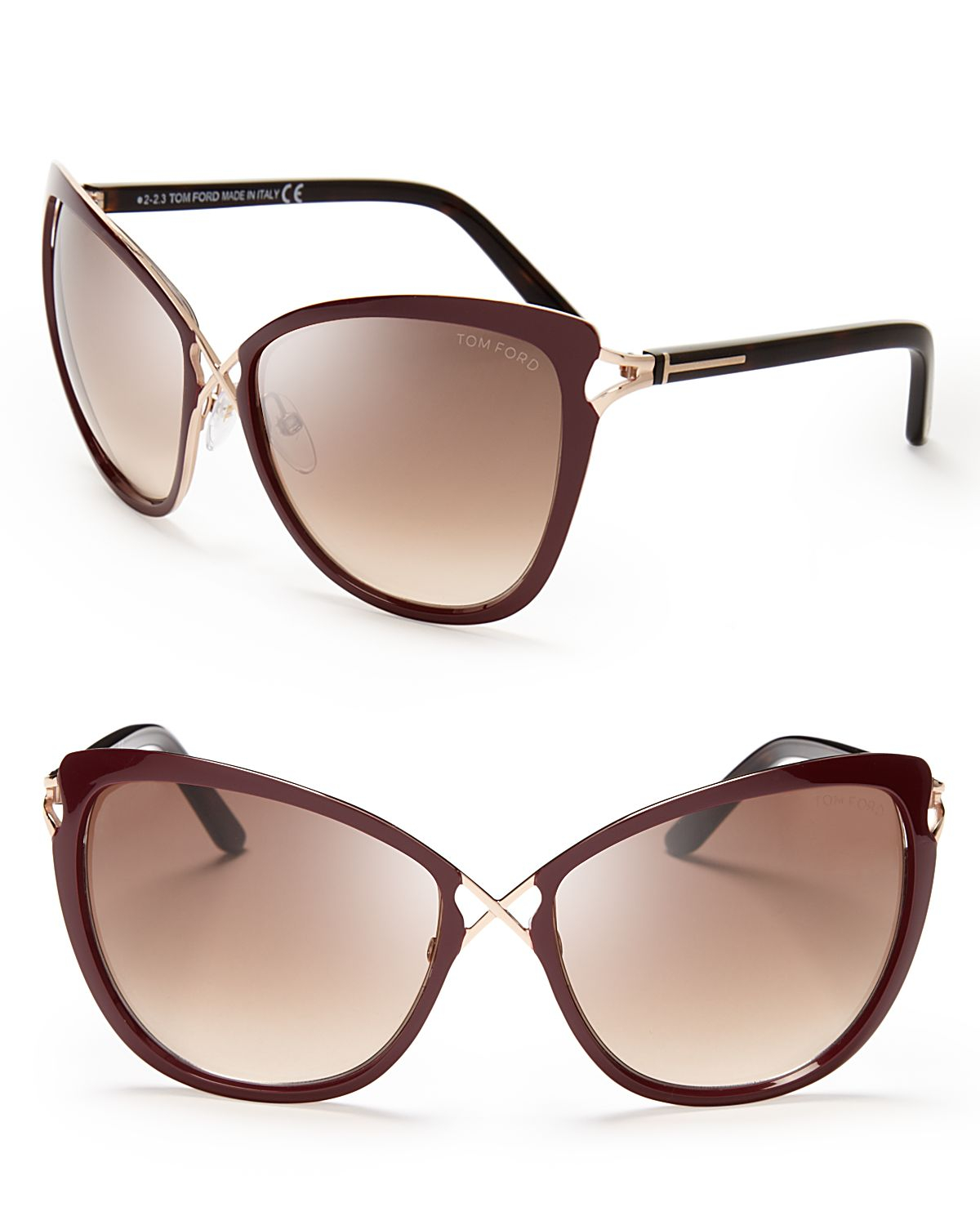 tom ford celia cat eye sunglasses in brown pale gold ivory lyst. Cars Review. Best American Auto & Cars Review