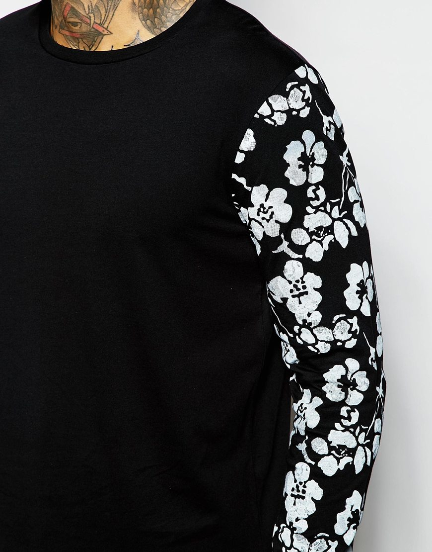 Asos Long Sleeve T Shirt With Floral Print Sleeves In