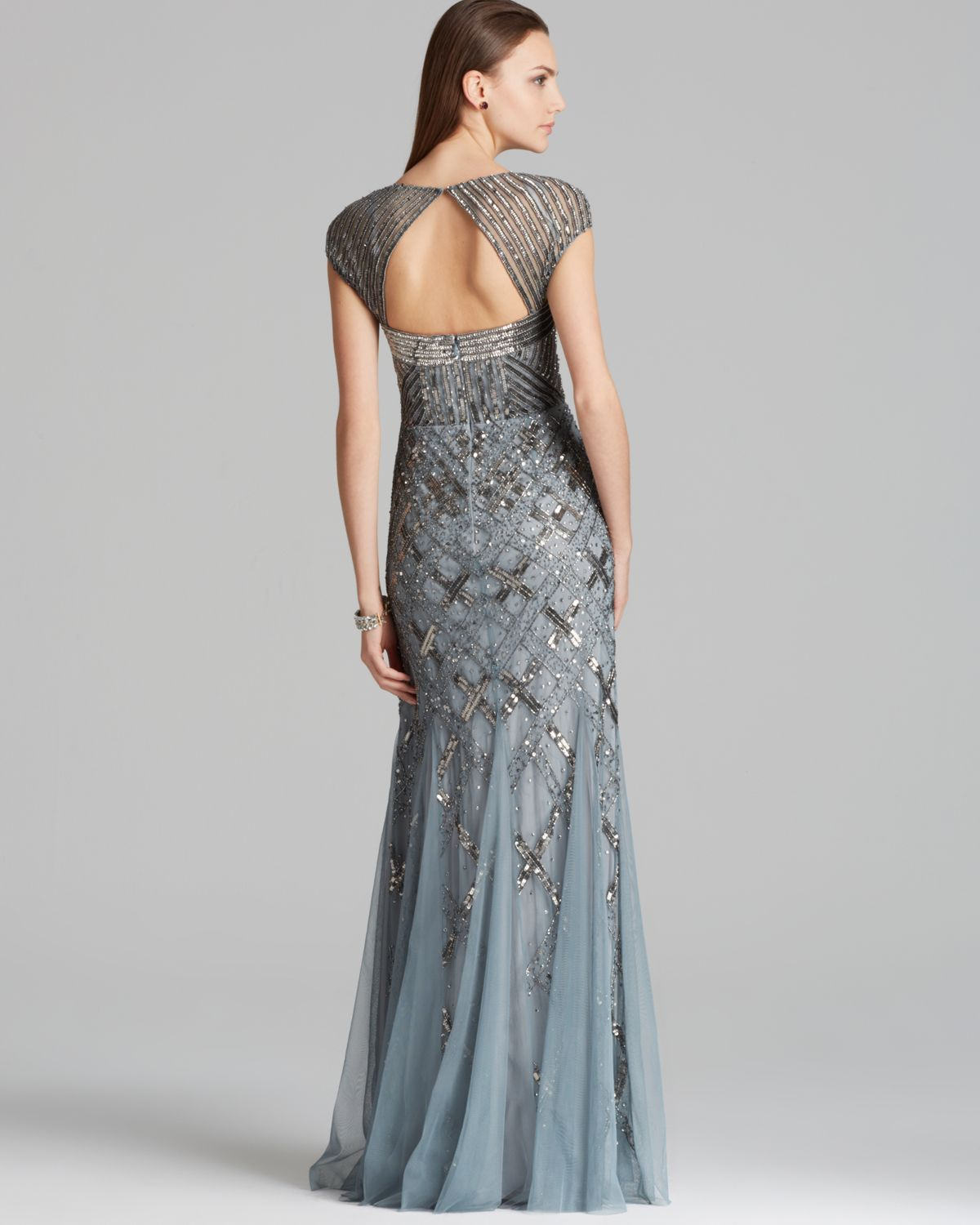 Adrianna papell Gown Cap Sleeve Beaded in Blue