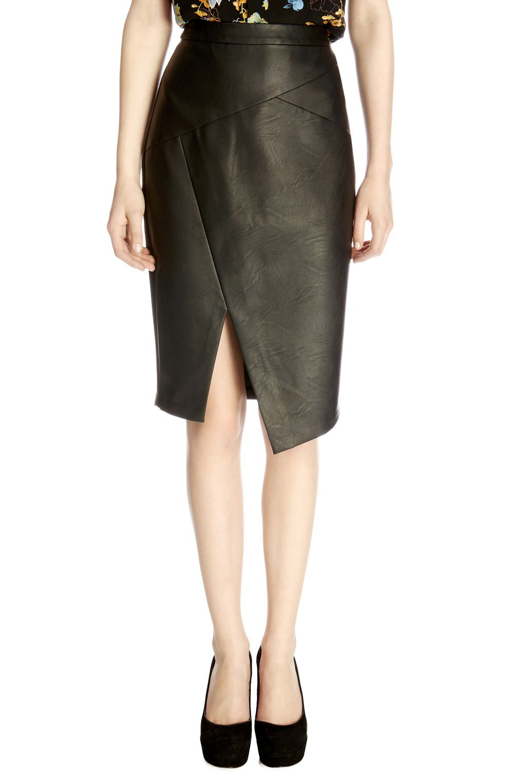 Oasis Faux Leather Wrap Pencil Skirt in Black | Lyst