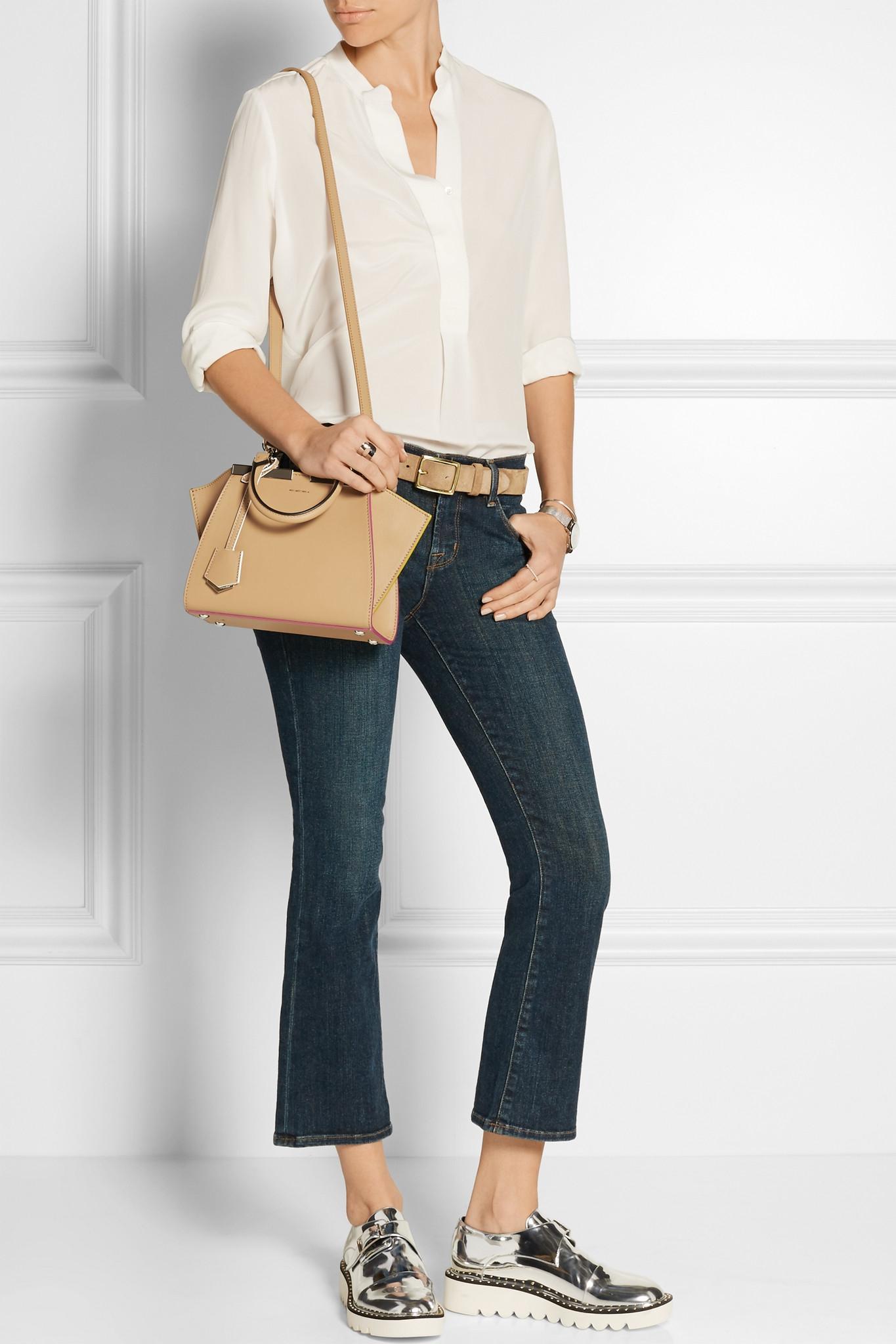 Lyst Fendi 3jours Mini Leather Shoulder Bag In Natural