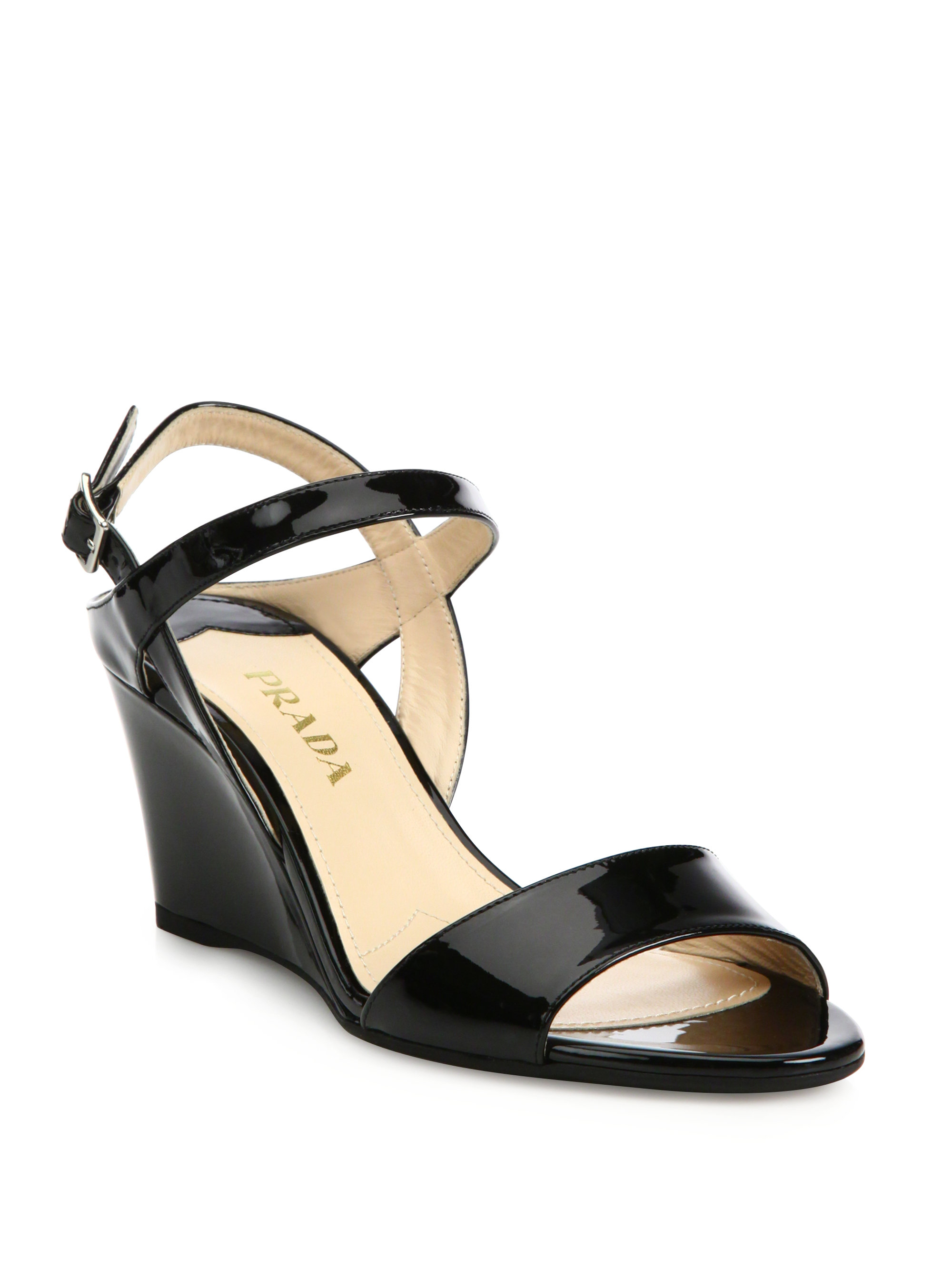 bb7f7beeea11fc Lyst - Prada Patent Leather Ankle-strap Wedge Sandals in Black