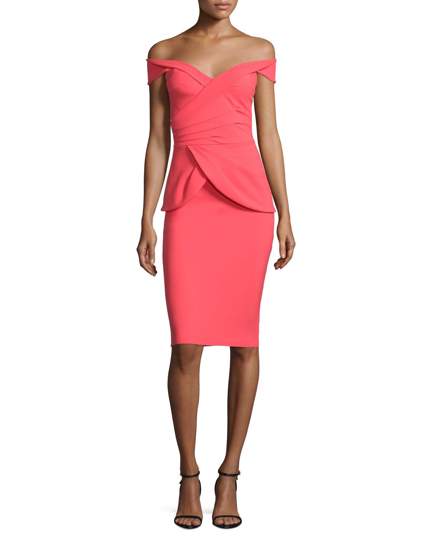 lyst la petite robe di chiara boni benny off the shoulder peplum cocktail dress in pink. Black Bedroom Furniture Sets. Home Design Ideas