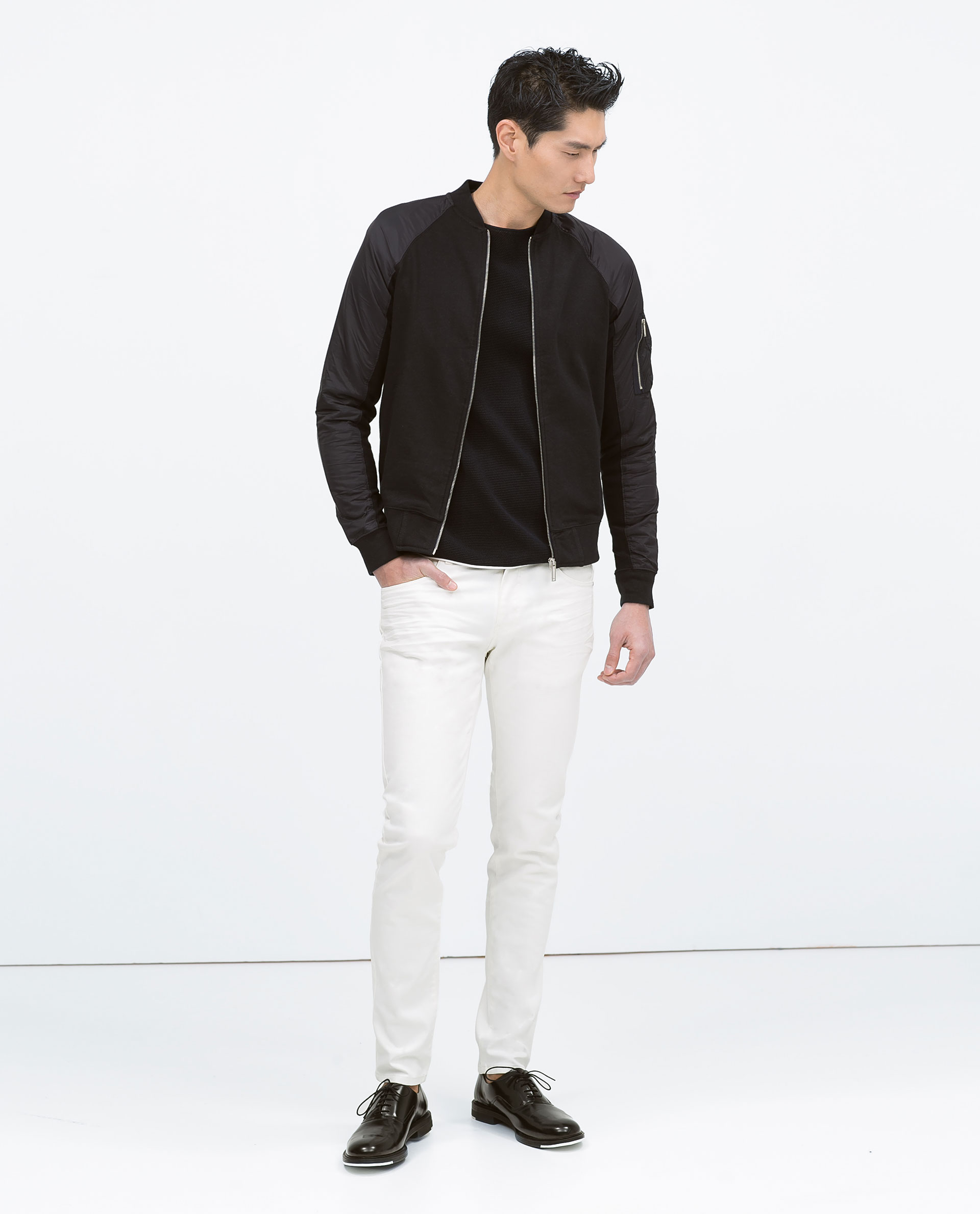 Zara Combined Sleeve Bomber Jacket in Blue for Men | Lyst