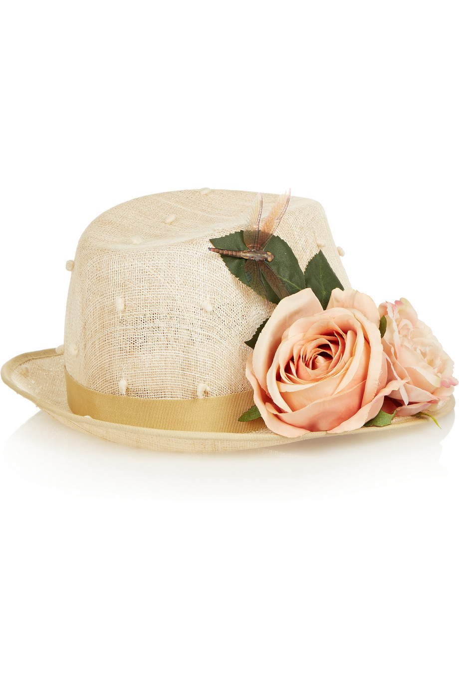 04589ae4 Piers Atkinson Flower-Embellished Sinamay Trilby in Natural - Lyst
