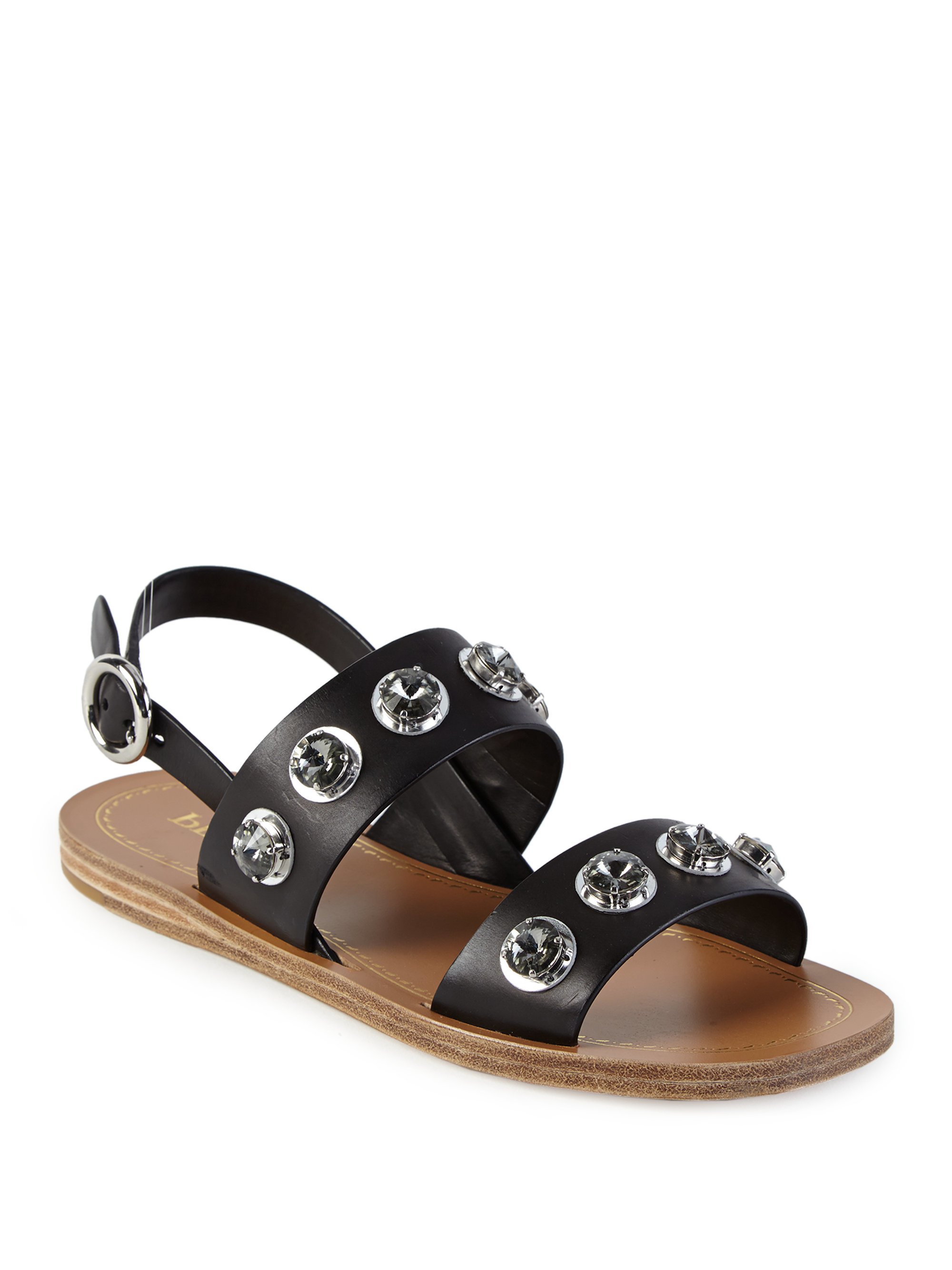95a131bd5 Lyst - Prada Jeweled Leather Flat Sandals in Black
