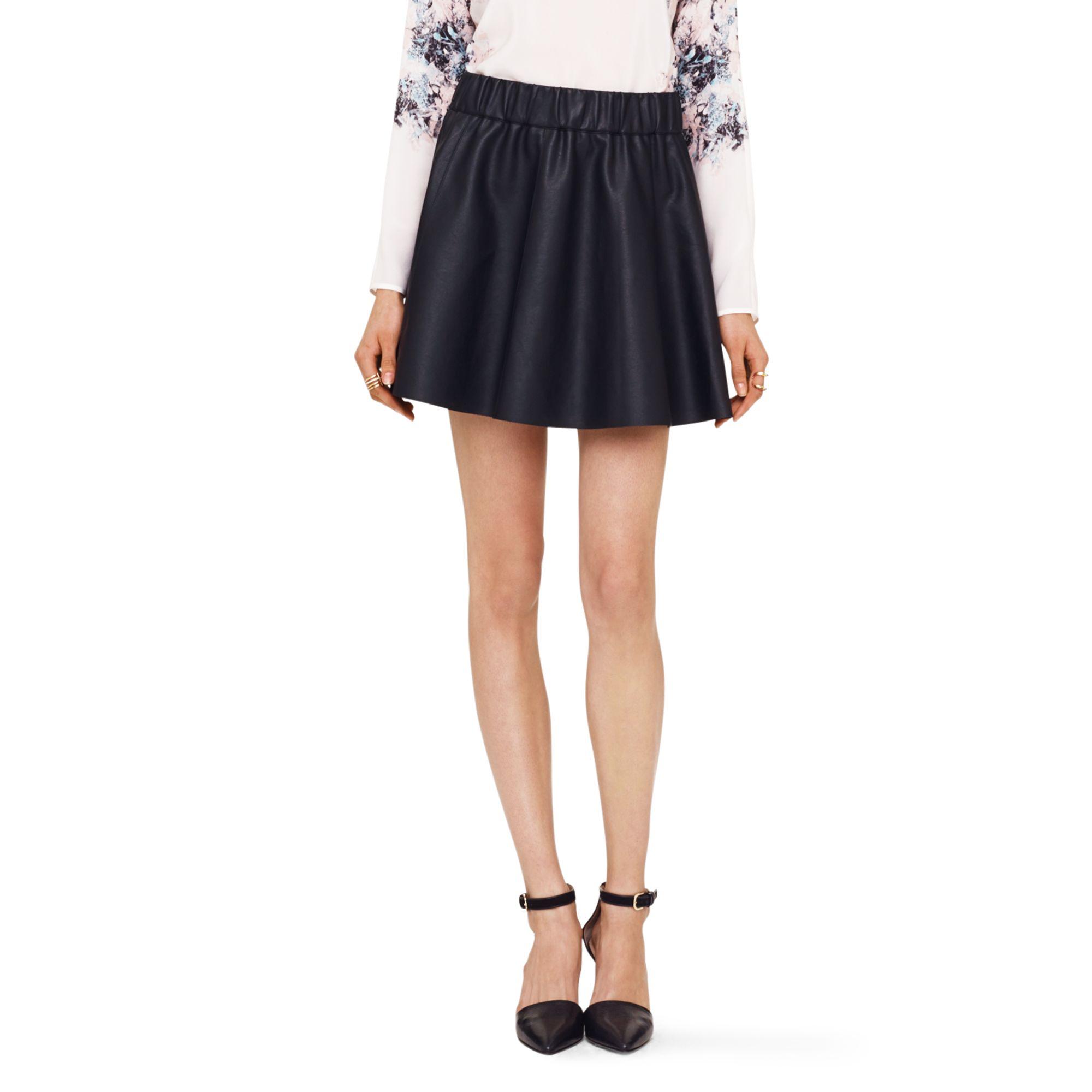 Club monaco Lyn Faux-Leather Skirt in Black | Lyst