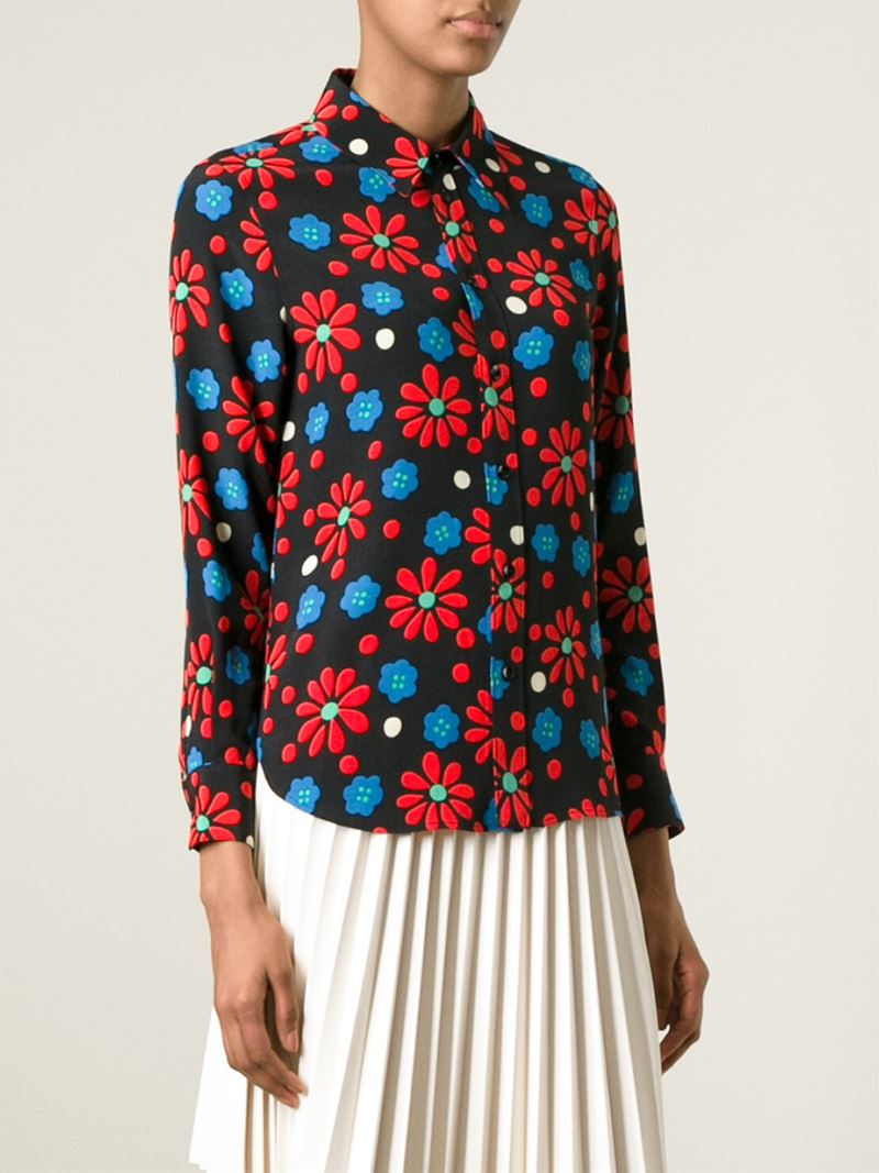 Really Buy Online Cheap Price Floral-print georgette blouse Saint Laurent Clearance Online Fake gCae32M