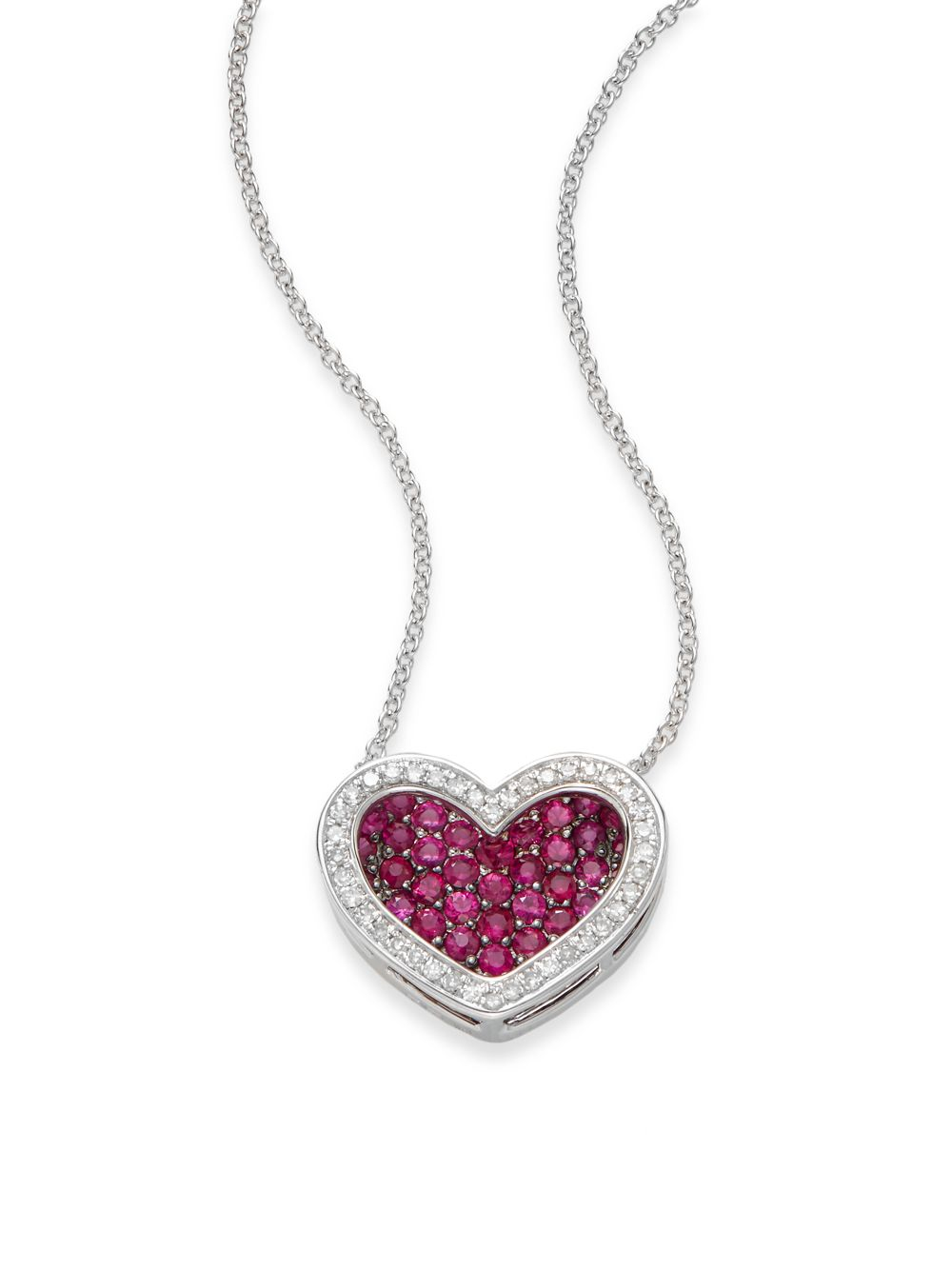 Lyst effy ruby diamond 14k white gold heart pendant necklace in gallery aloadofball Image collections