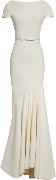 Katie Ermilio Scoopback Tailor Bow Gown in Beige (Cream) - Lyst