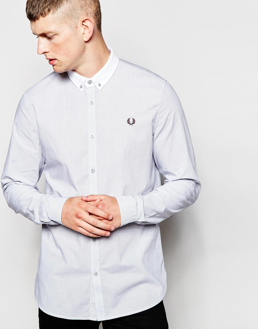 549241720 Fred Perry Shirt In Slim Fit With Stripe And Contrast Collar in ...