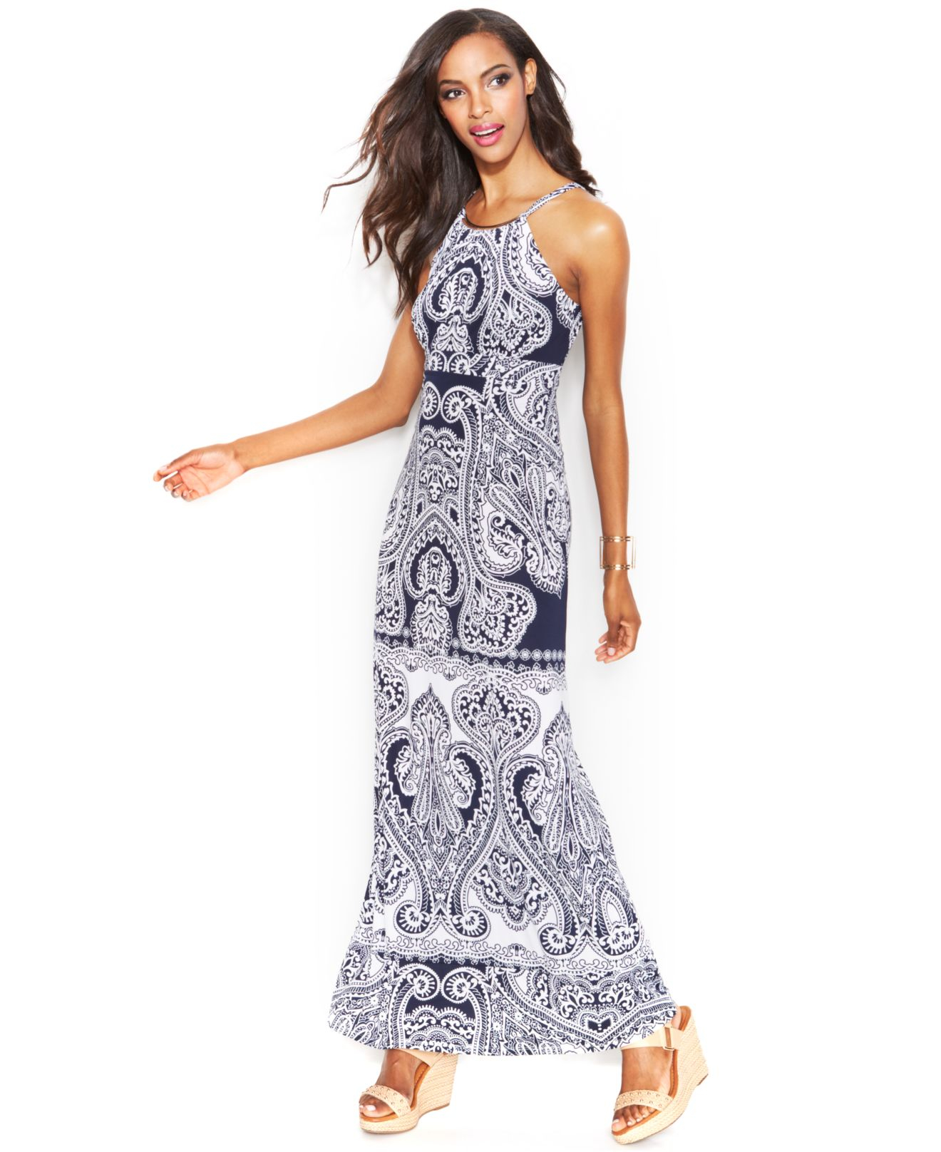 Lyst Inc International Concepts Printed Hardware Halter Maxi Dress