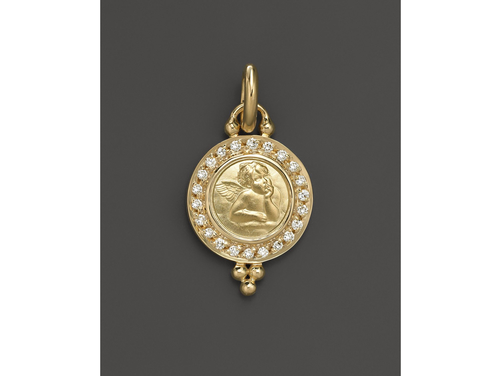 temple st clair 18k yellow gold pav 233 pendant with