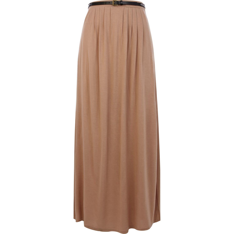 river island beige belted side split maxi skirt in beige
