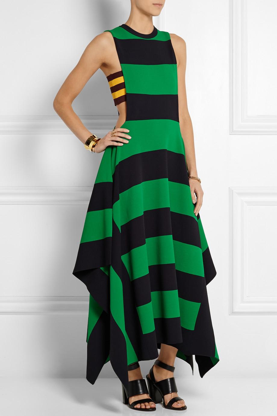 Stella Mccartney Striped Jersey Maxi Dress In Green Lyst