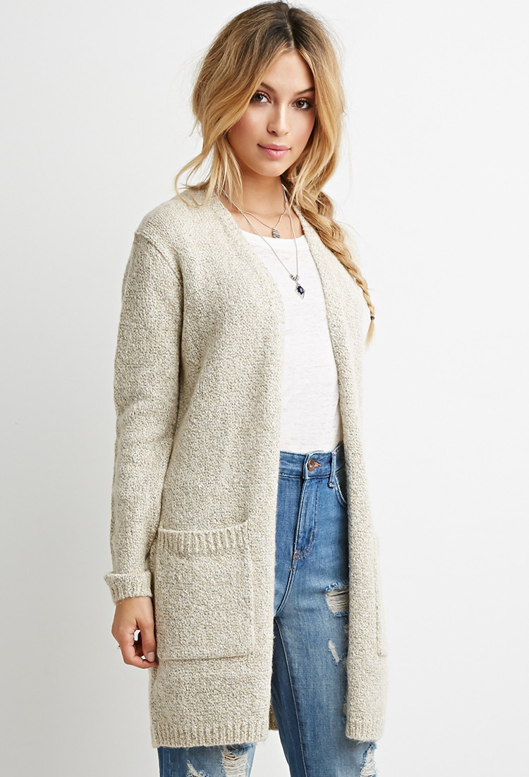 9a65b2ceed Lyst - Forever 21 Oversized Chunky Knit Cardigan in Natural