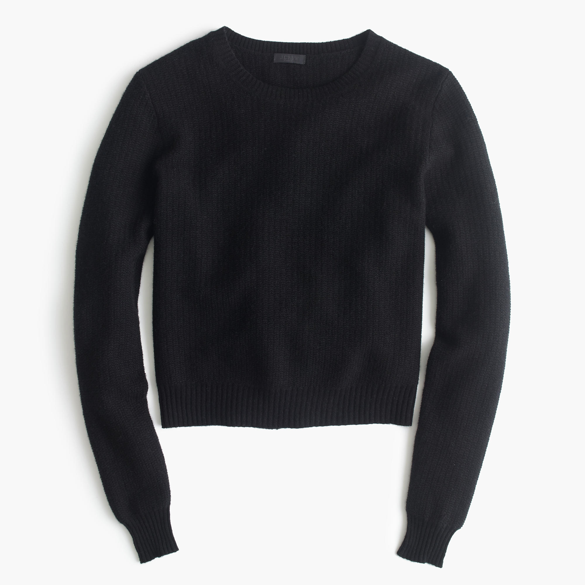 J.crew Cropped Cashmere Pullover Sweater in Black | Lyst