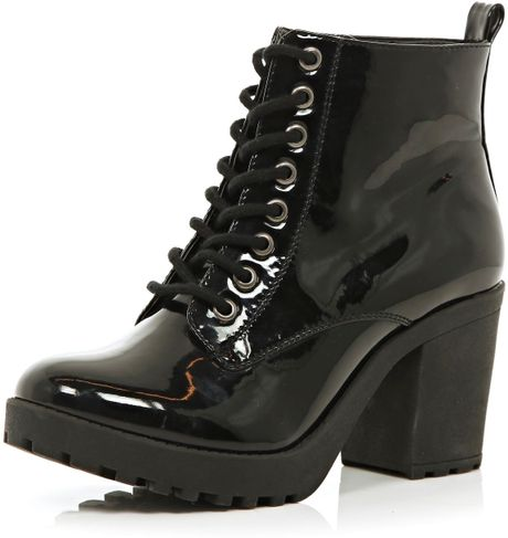 river island black patent cleated sole block heel boots in
