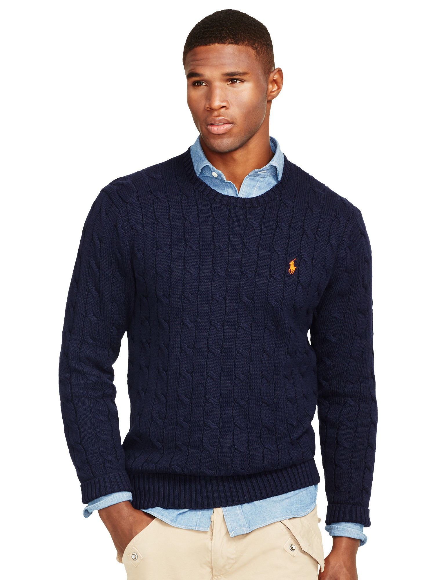 1ae97416e Polo Ralph Lauren Cable Knit Crew Neck Jumper in Blue for Men - Lyst