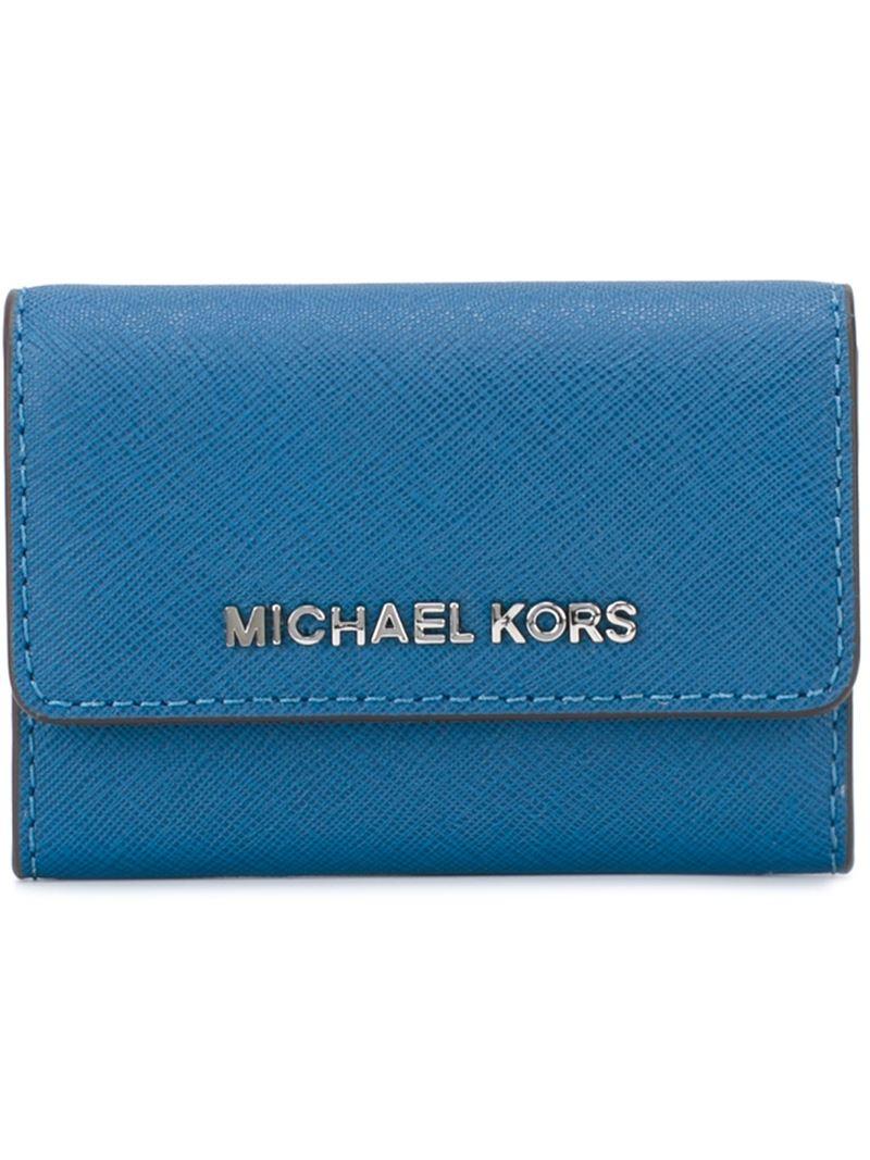 Lyst michael michael kors logo business card holder in blue for men gallery colourmoves Images