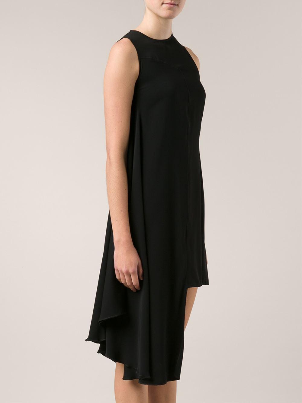 Black chiffon asymmetric dress Maison Martin Margiela Free Shipping 100% Authentic DRVjm