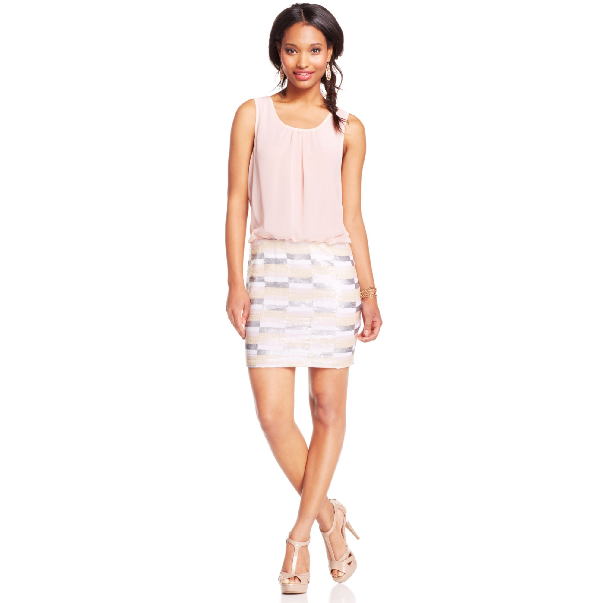 as u wish juniors sequin blouson dress in pink lyst