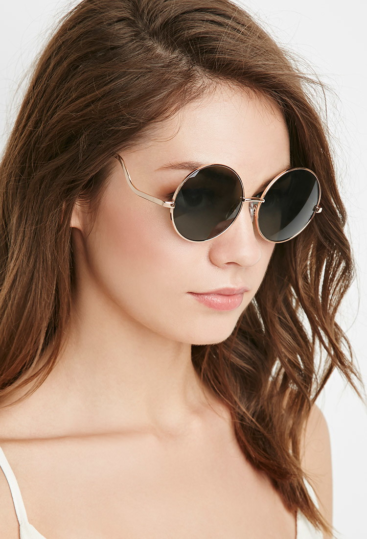Forever 21 Round Frame Sunglasses in Gold (Gold/olive) Lyst