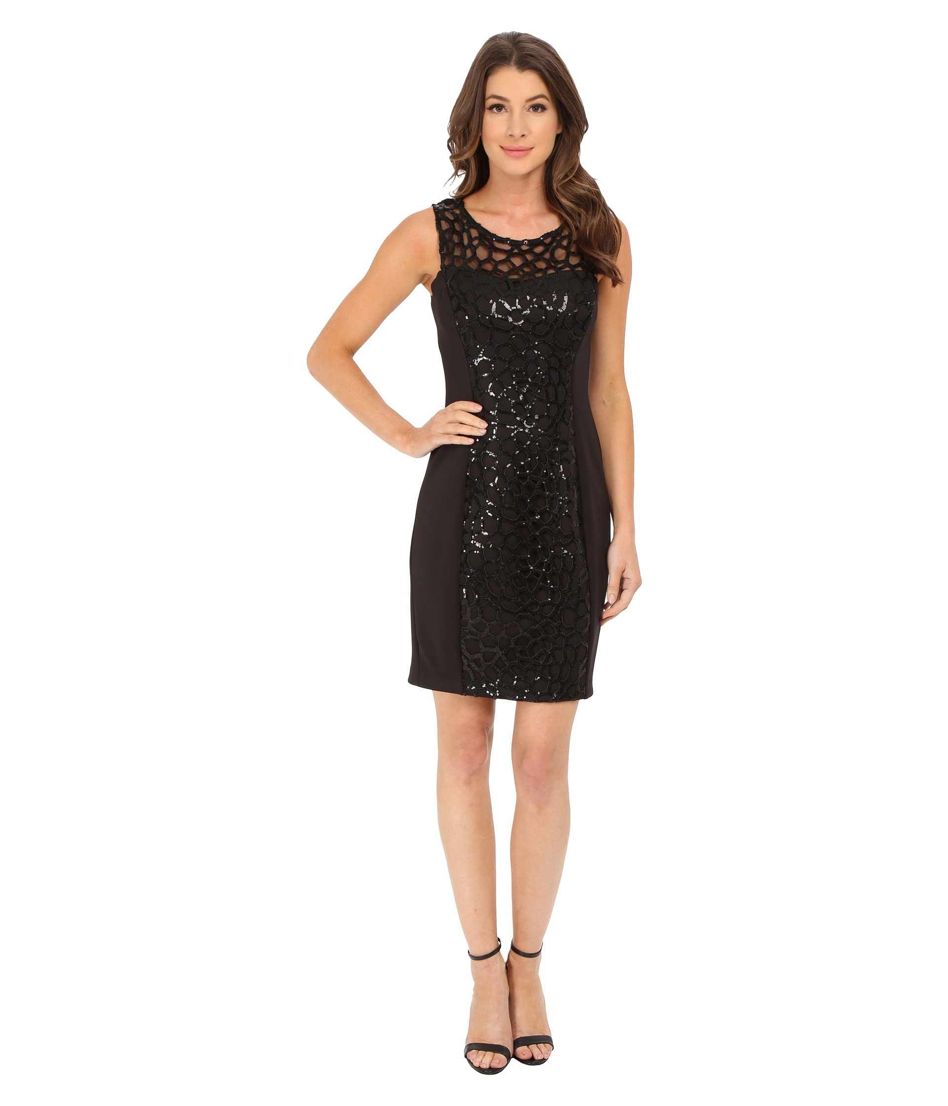 Jessica simpson Embellished Cut Out Sequin Dress in Black - Lyst
