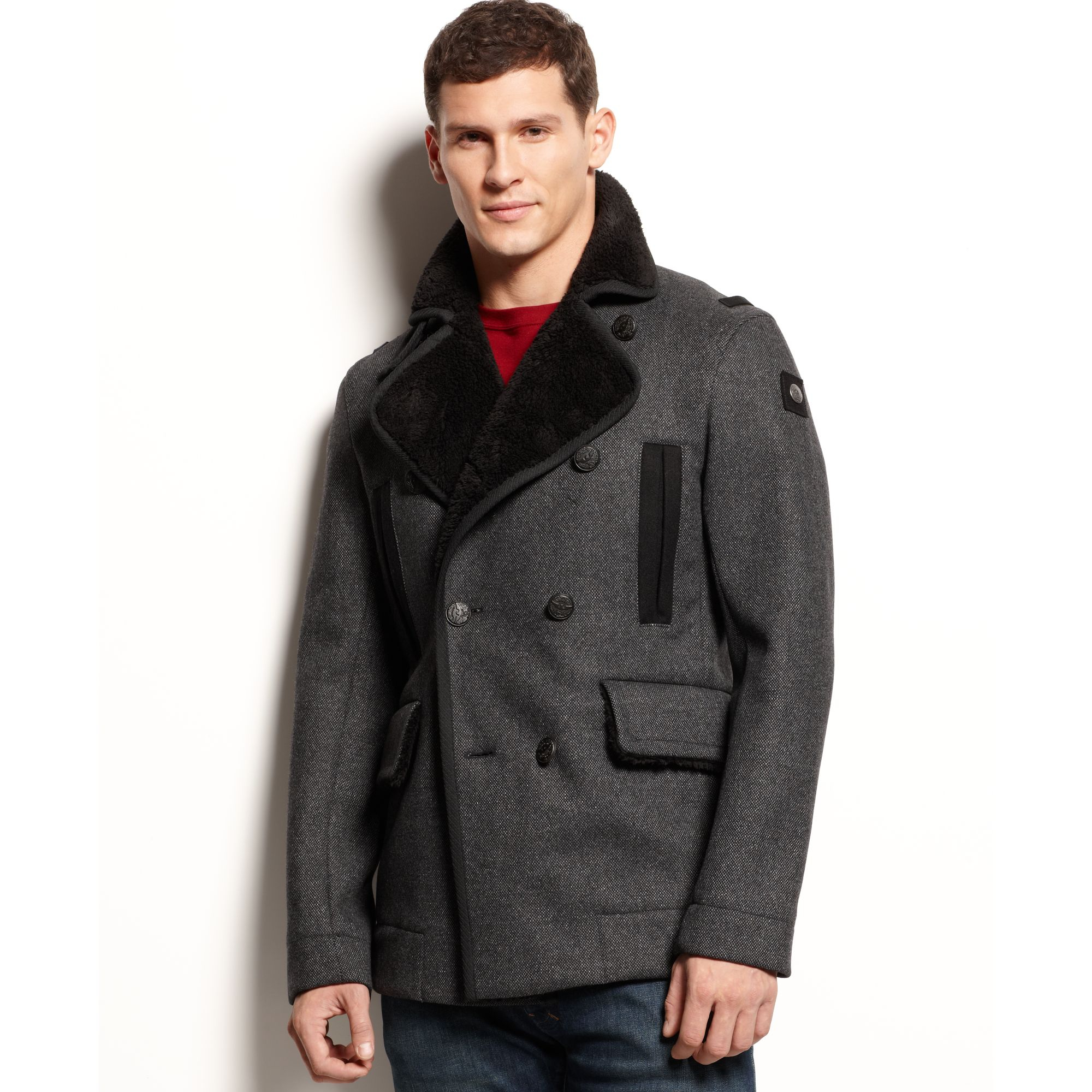 Armani jeans Faux Shearling Trimmed Peacoat in Gray for Men | Lyst