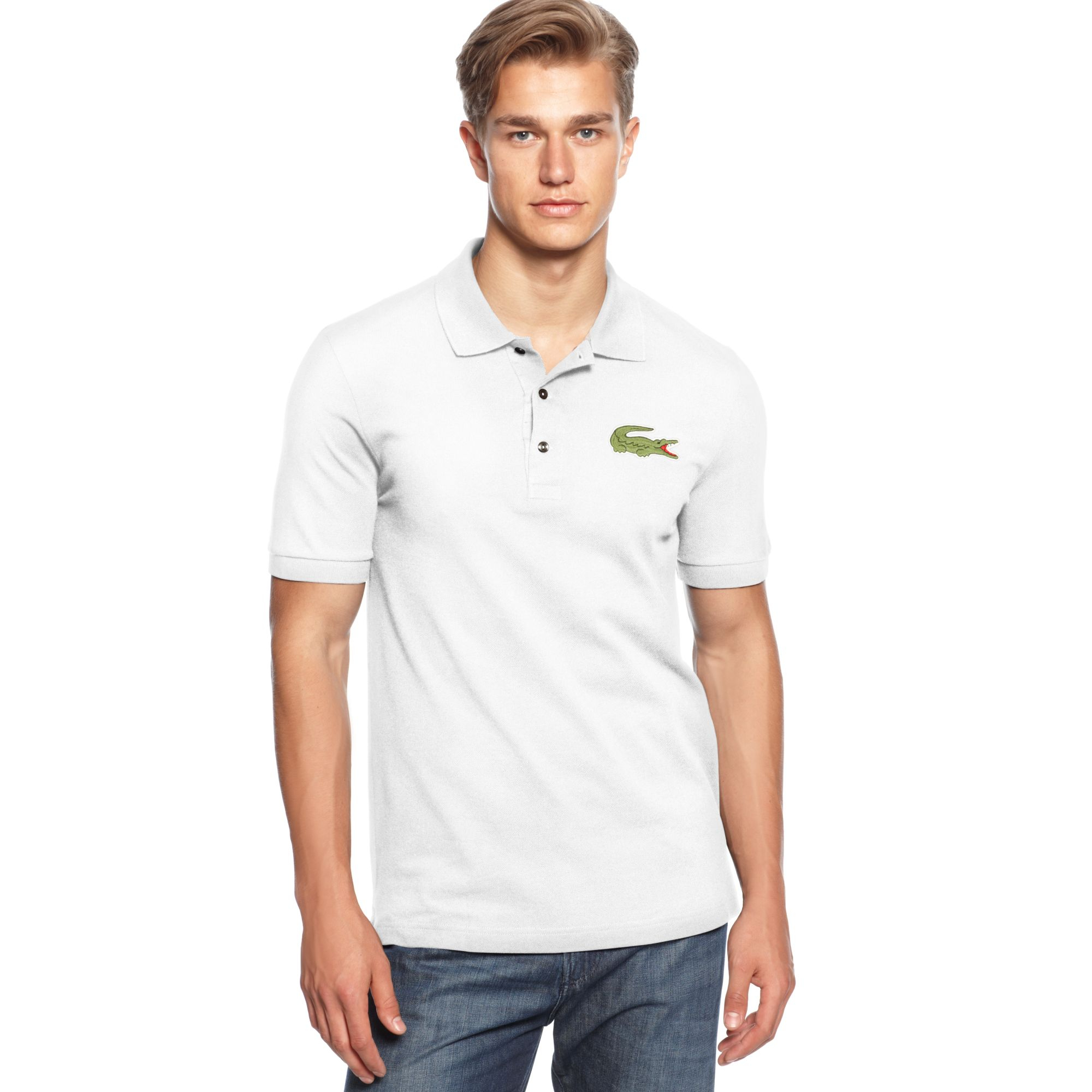 Lacoste oversized crocodile pique polo in white for men lyst for Lacoste shirts with big alligator