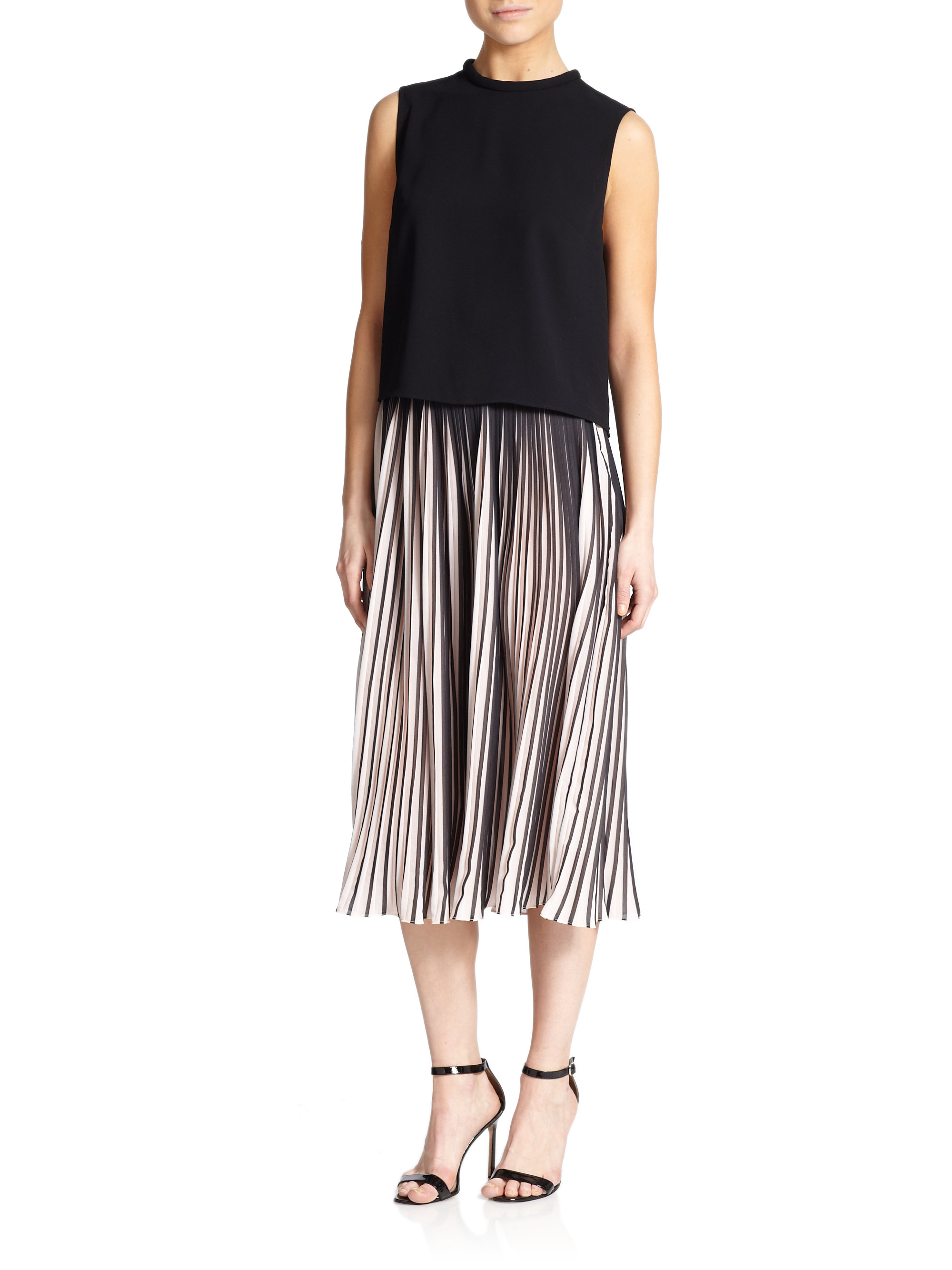 Nicholas Striped Pleated Chiffon Skirt in Pink | Lyst