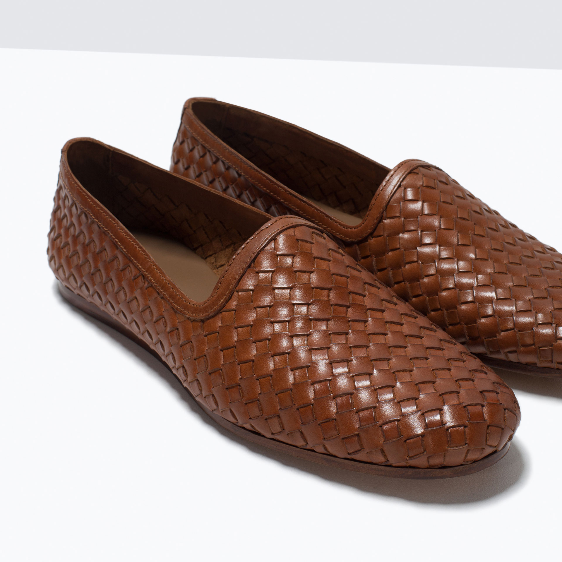 zara braided leather moccasin in brown for lyst