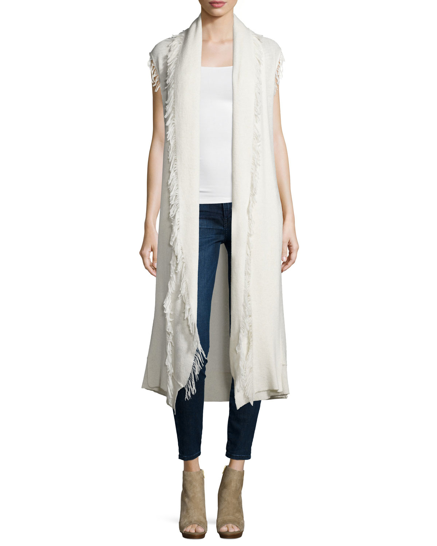 Ella moss Maria Sleeveless Long Cardigan Sweater W/fringe in White ...