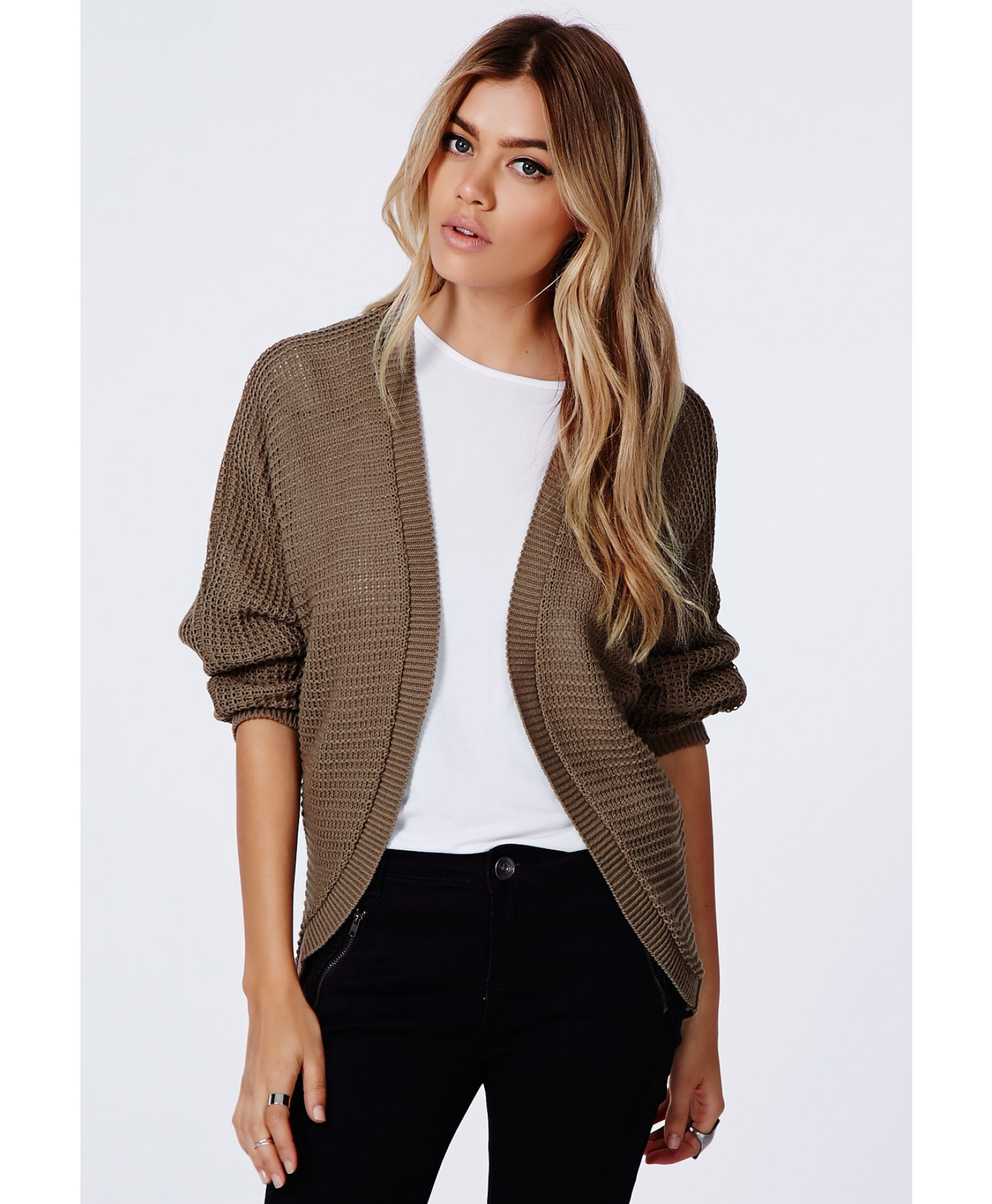 Missguided Cecyla Batwing Cardigan Stone in Brown | Lyst