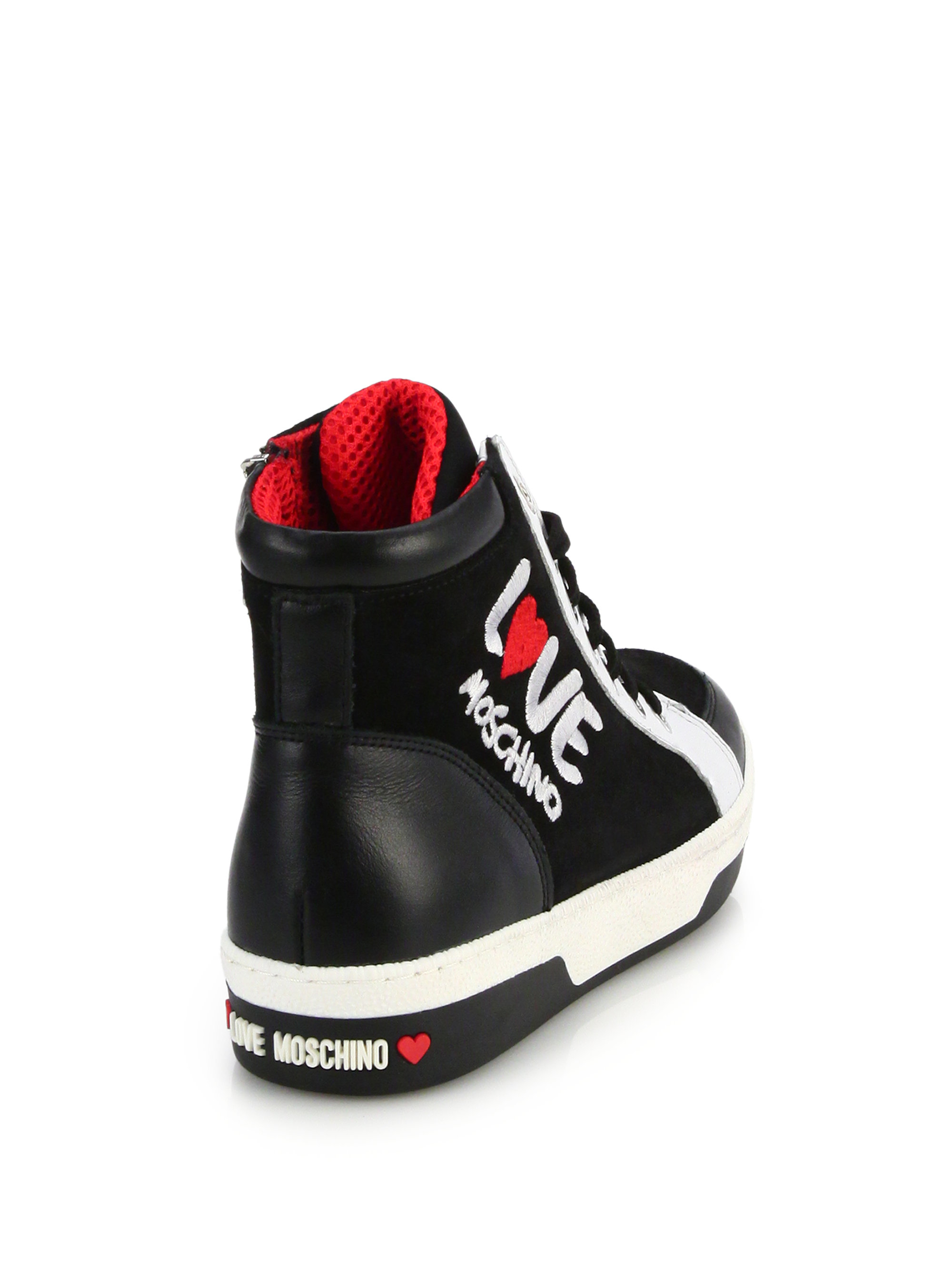 2d4950a9abd Love Moschino Love Embroidered Leather & Nylon High-top Sneakers in ...