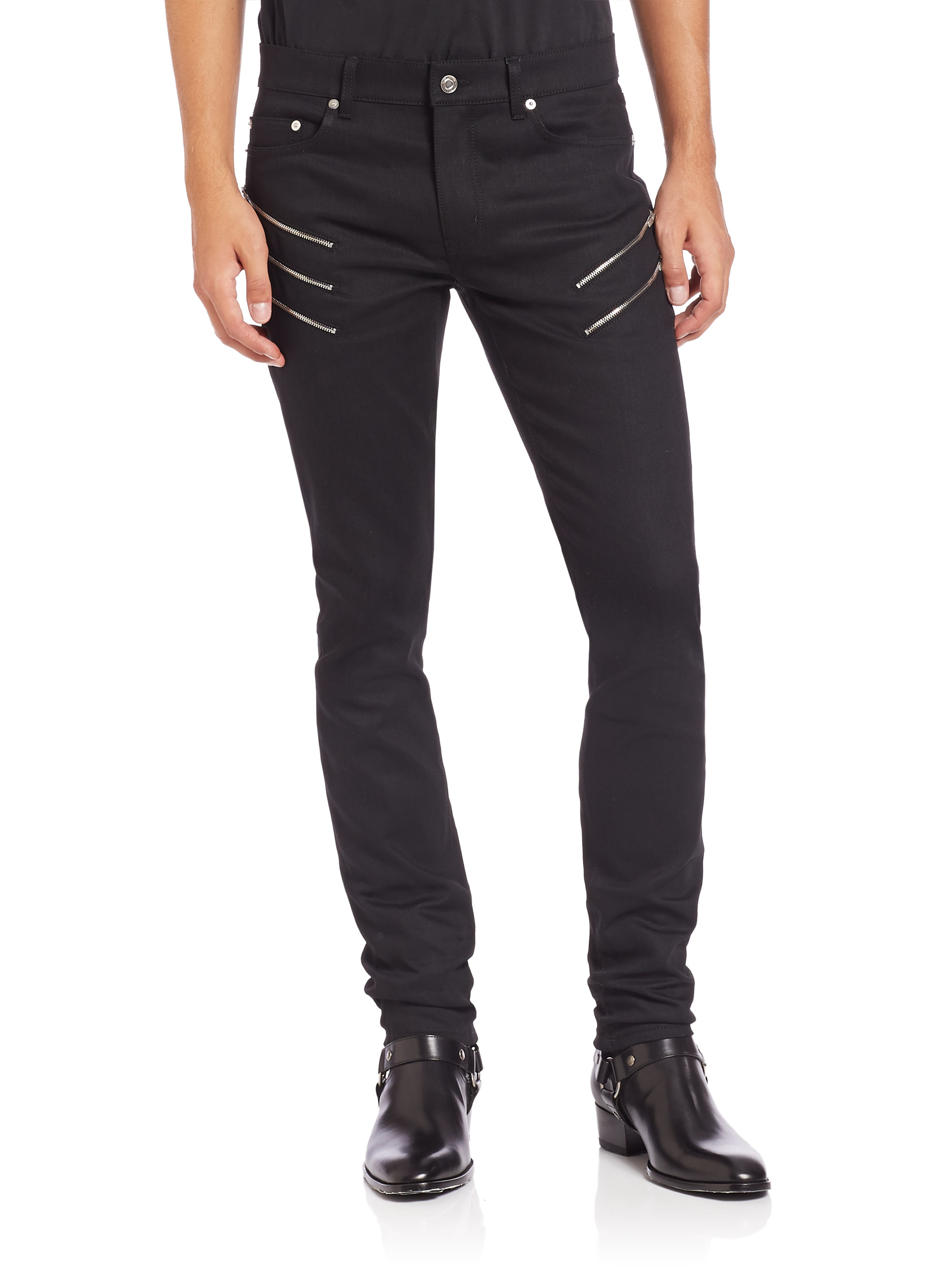 Saint laurent Zip-detail Moto Jeans in Black for Men | Lyst