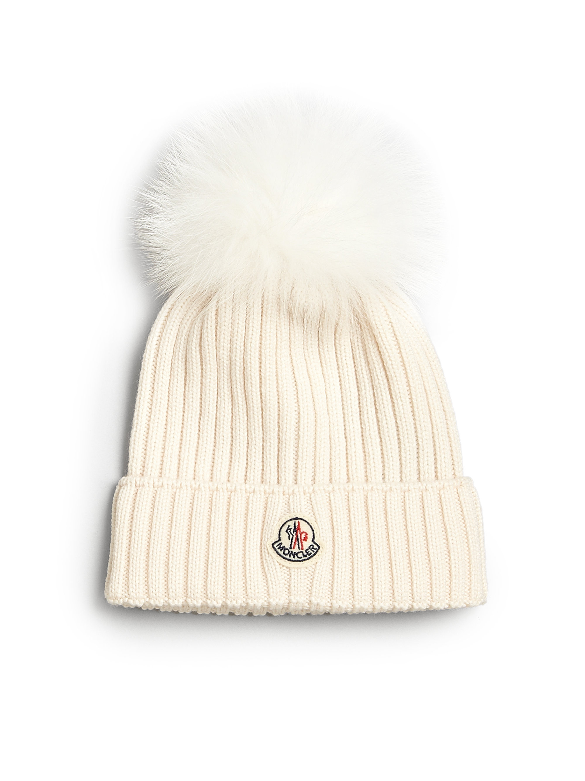 Lyst - Moncler Toddlers Little Girls Fur-trimmed Wool Hat in Natural 66aa119328cd
